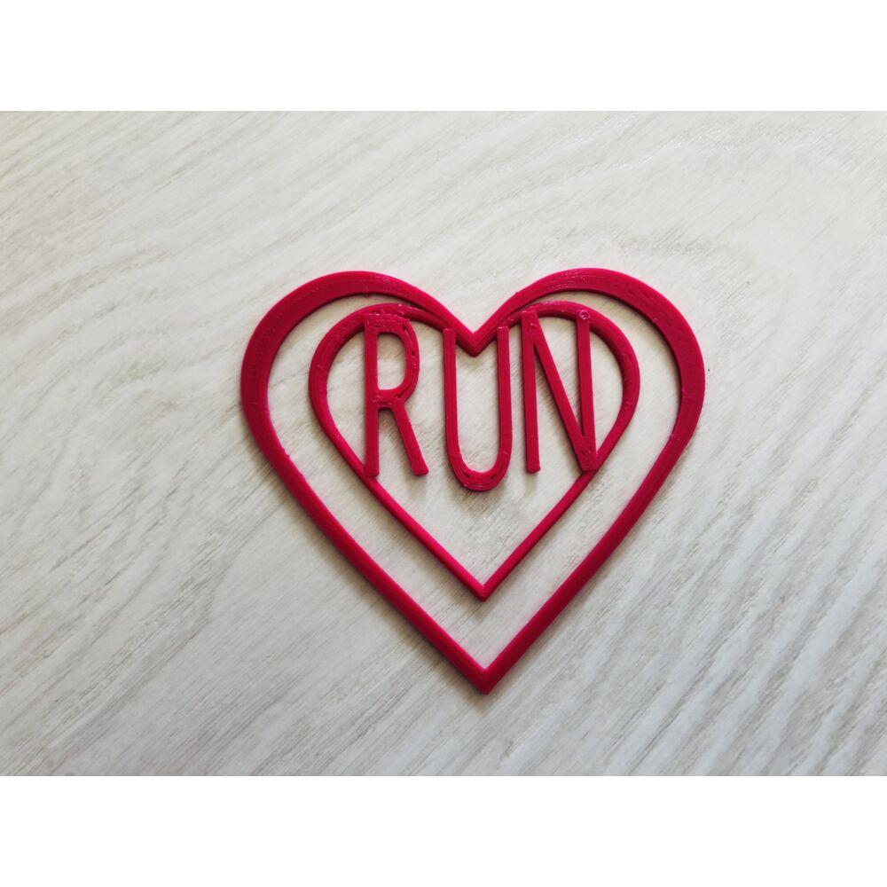 Pink szívecskés könyvjelző RUN felirattal