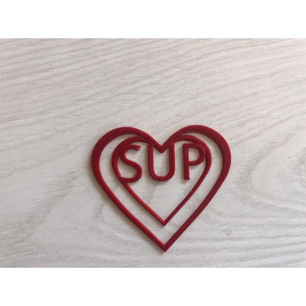 Tűzpiros szívecskés könyvjelző SUP felirattal