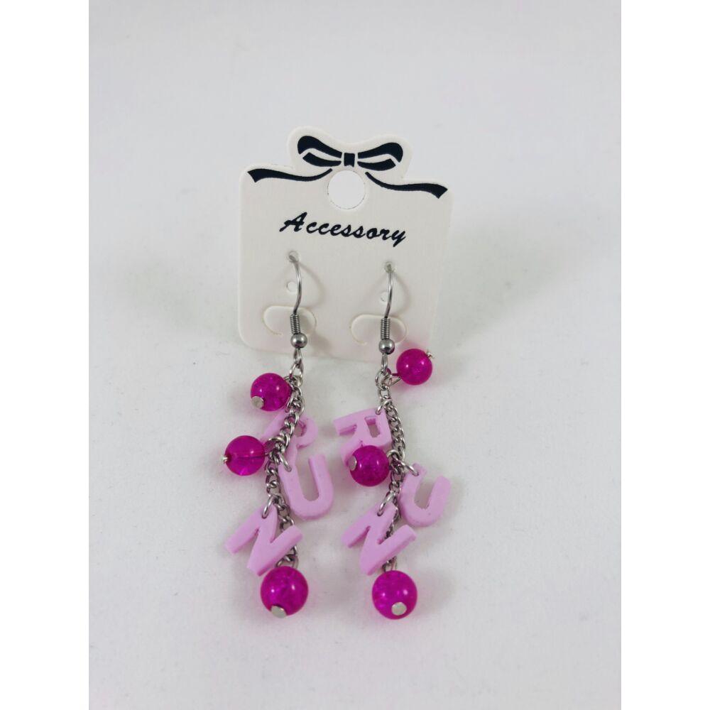 RUN fülbevaló - pink-rózsaszín