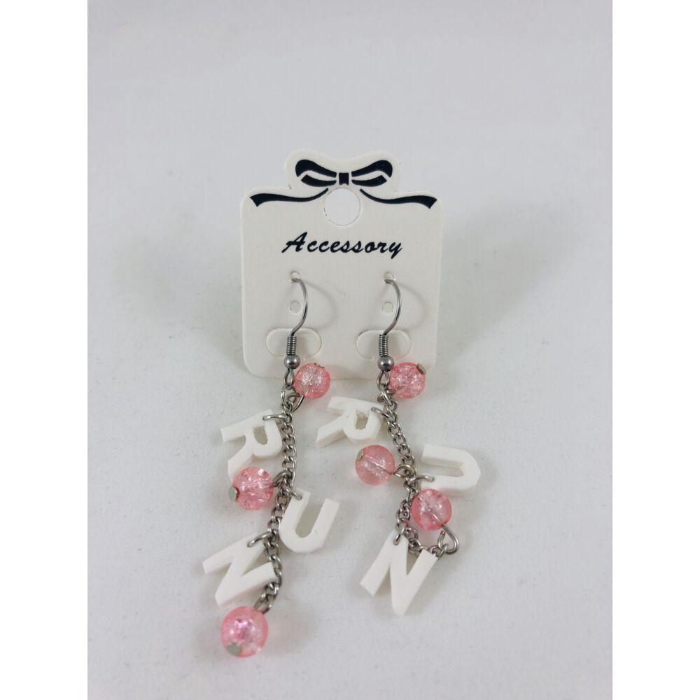 RUN fülbevaló - világos rózsaszín-fehér