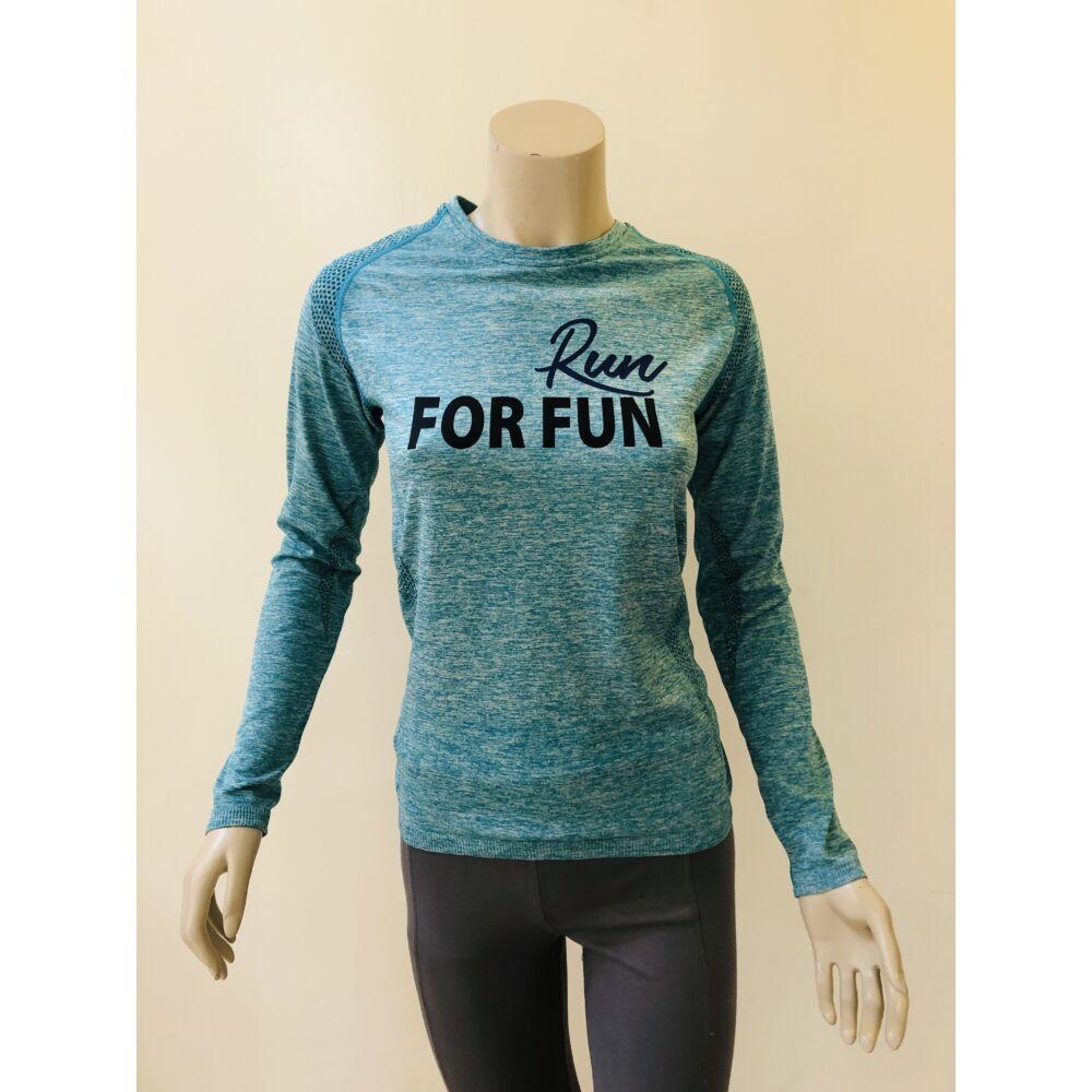 RUN FOR FUN türkiz színű technikai felső - M-es