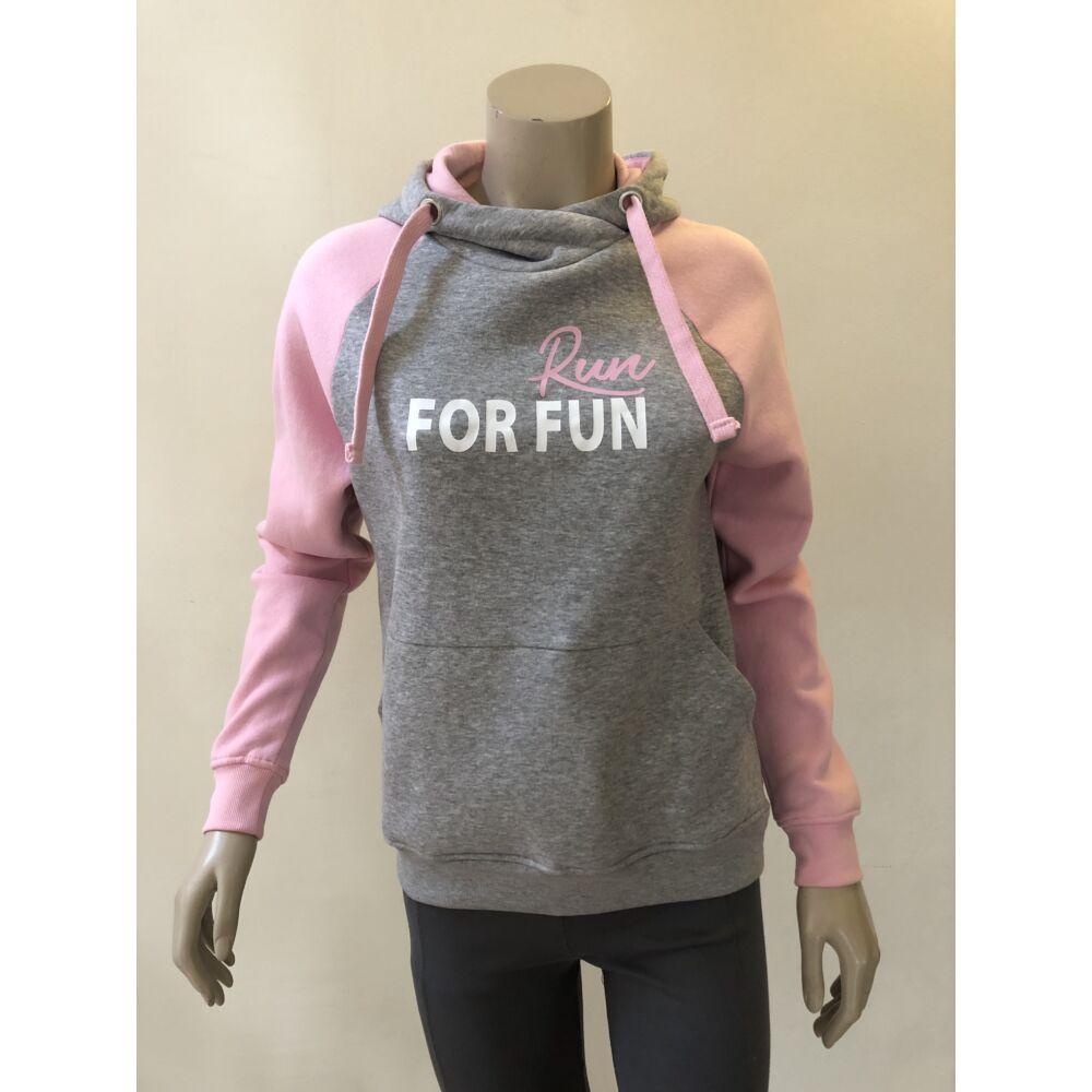 RUN FOR FUN szürke-rózsaszín kapucnis pulóver - XS-es