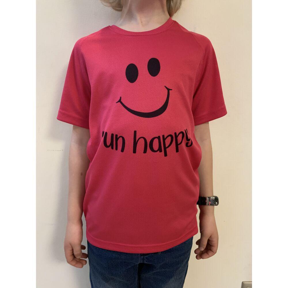GYEREK - SMILEY pink rövid ujjú technikai póló - 6/8 évesekre