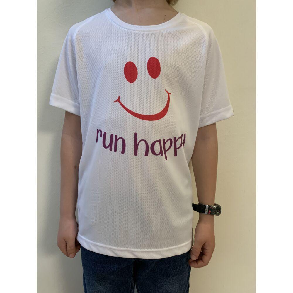 GYEREK - SMILEY fehér/pink rövid ujjú technikai póló - 6/8 évesekre