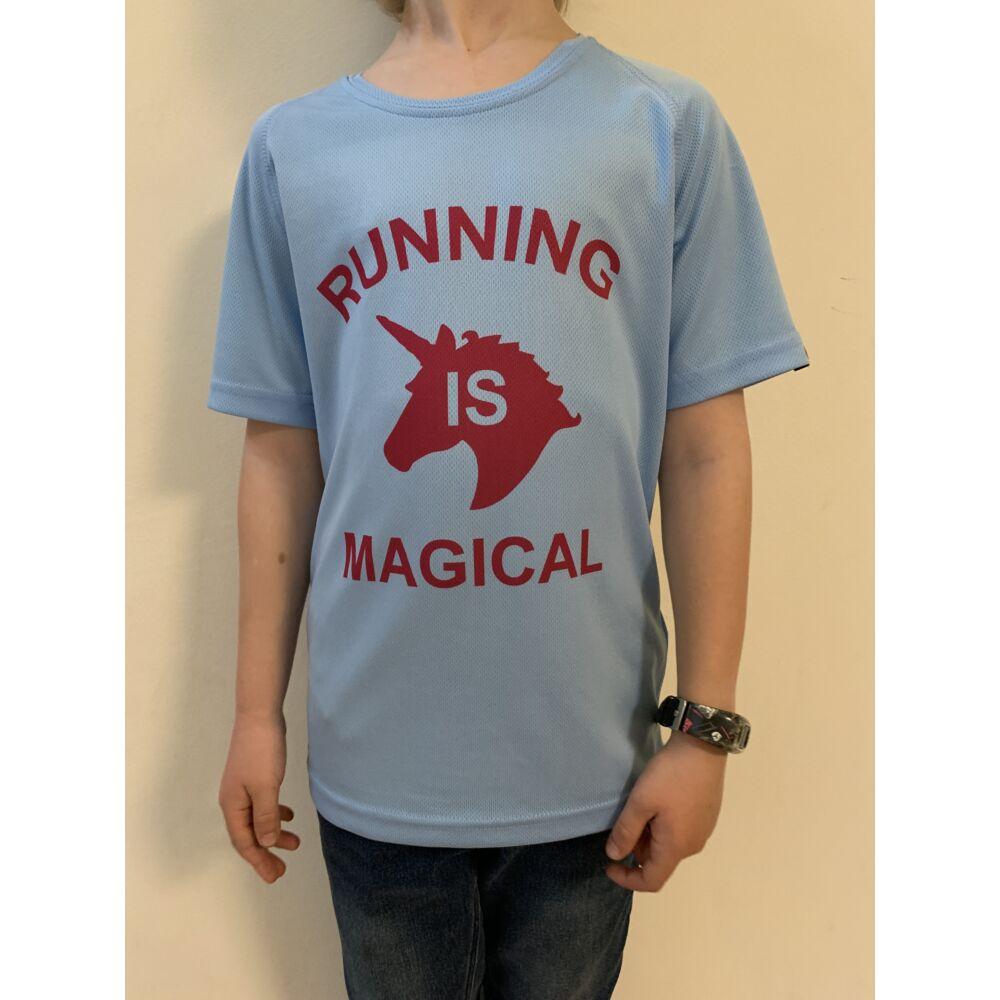 GYEREK - Unikornisos, kék rövid ujjú technikai póló - 10/12 évesekre
