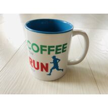 Kék színű Coffee Now Run Later bögre