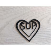 Lakk fekete szívecskés könyvjelző SUP felirattal