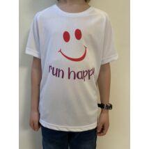 GYEREK - SMILEY fehér/pink rövid ujjú technikai póló - 8/10 évesekre