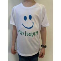GYEREK - SMILEY fehér/kék rövid ujjú technikai póló - 6/8 évesekre