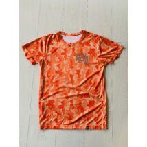 RÖVID UJJÚ narancssárga/mintás férfi technikai póló - M-es